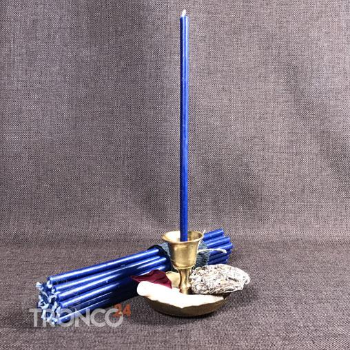 Свеча полувосковая синяя № 60